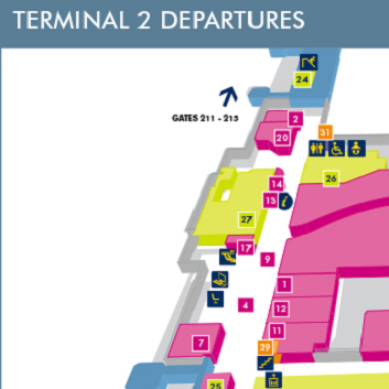 Terminal 2 Departures Manchester Map