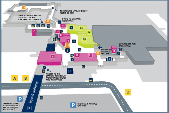 Terminal 1 Arrivals Manchester Map