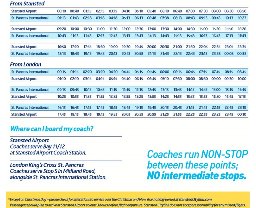 Stansted Citylink Timetable