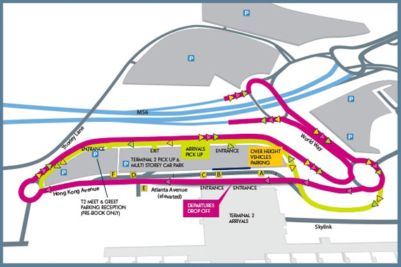 Terminal 2 Pick Up and Drop Off Manchester Map